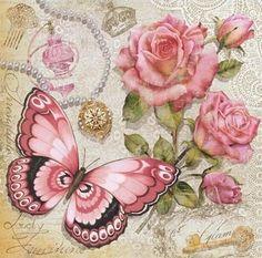 Decoman mariposa y rosas