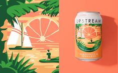 Brand creation, naming and illustration by Leeds-based branding agency Robot Food for refreshingly grown-up, aspirational drinks brand Upstream. Water Packaging, Juice Packaging, Water Branding, Brand Packaging, Design Packaging, Web Design, Design Blog, Label Design, Package Design