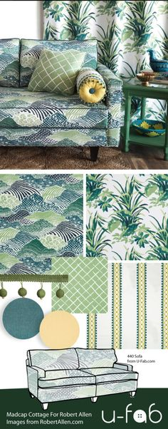 This moodboard is inspired by the brilliant designs of Jason Oliver Nixon & John Loecke in their inspiring new Jungle exotic meets preppy collection titled Madcap Cottage. U-Fab is proud to offer many beautiful fabrics from Robert Allen.  Ask our fabric gurus for pricing and availability.