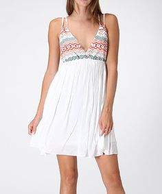 Look at this Honey Punch Coconut & Red Geometric Empire-Waist Dress on #zulily today!