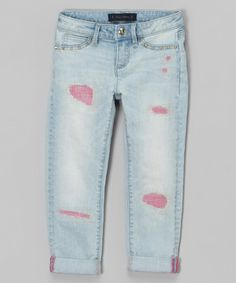 Look at this Electric Ice Wash & Pink Distressed Core Skinny Jeans - Girls on #zulily today!