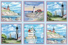 Lighthouses on Blue by Elizabeth's Studios – Quilt Top Panel / Fabric Panel / Lighthouse Quilt Fabric / Lighthouse Quilt