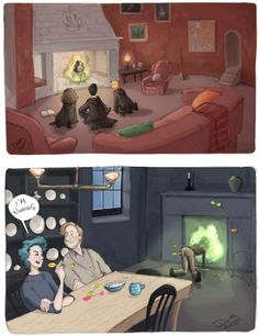 """""""Floo conversations at Grimmauld Place"""" Harry Potter, Hermione Granger, Ron Weasley, Sirius Black, Remus Lupin and Nymphadora Tonks Fan Art Harry Potter Fan Art, Harry Potter World, Harry Potter Jokes, Harry Potter Universal, Harry Potter Fandom, Hogwarts, Ravenclaw, Harry E Gina, Harry Porter"""