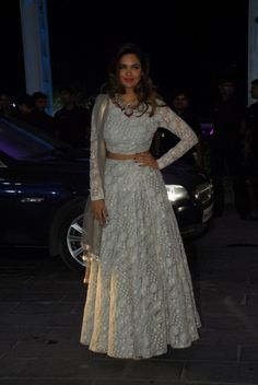 @EshaGupta2811 beautiful in all white http://www.PayalSinghal.com/ & http://www.AmrapaliJewels.com/index.php Jewelry at Shirin Morani & Uday Singh Wedding Reception, Dec 21, 14