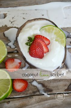 I Love A Great Sorbet Recipe, Don't You? Have You Tried To Make Your Own Homemade Sorbet? Today We Are Sharing How To Make Sorbet And Sharing Our Delicious Coconut Sorbet! Mini Desserts, Frozen Desserts, Just Desserts, Delicious Desserts, Dessert Recipes, Yummy Food, Summer Desserts, Yummy Recipes, Sorbet
