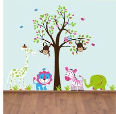 Boy Girl Twin Jungle Animals With Tree Wall Decals - Wall Sticker Outlet