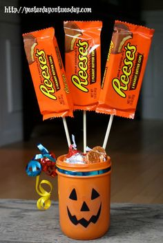 Not this exactly but maybe a fake jack o lantern on the corner of the counter to put all the free DumDums in