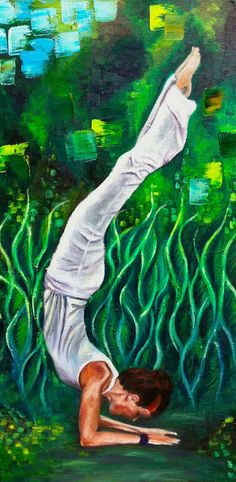 Yoga Decor, Oil Painting Original from the Artist. Oil on canvas 12x24 inch. For sale on ebay.com  with starting price $285.00