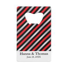 Black Red Silver Stripe Wedding Credit Card Bottle Opener - wedding decor marriage design diy cyo party idea
