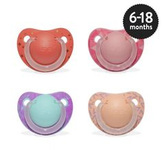 Girls 6-18 months Orthodontic Silicone Soother in assorted designs.