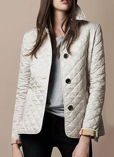 Cotton & Cotton Blend Black White Long Long Sleeve Lapel Coats & Jackets (1715116986)