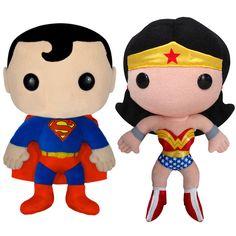 Superman & Wonder Woman Plushies  by Funko