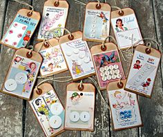 Vintage style button card gift tags set of 12 tags for studio or sewing room items