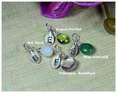 ADD A BIRTHSTONE . Leaf initial Charm . birthstone initial charm .Leaf charm .Birthstone charm . Monogram jewelry.Feather charm . - Price