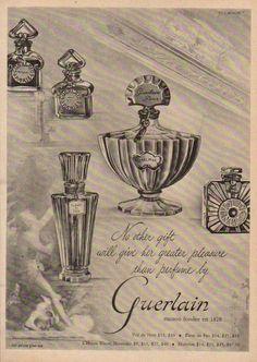ah les parfums de Guerlain. Vintage Advertisements, Vintage Ads, Vintage Images, Vintage Posters, Vintage Designs, Vintage Photographs, Vintage Bottles, Vintage Perfume, Design Poster