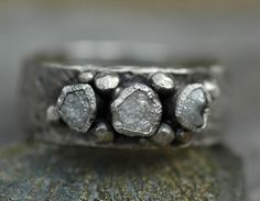 Rough Diamond Trio Ring Custom Made To Order by Specimental