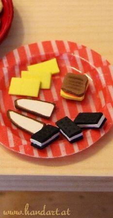 Butterbrot, Käse, Schinkenkäse-Toast, Kekse für Puppen (Barbie)