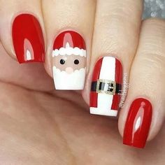 25 Magical Santa Nail Art Designs to Love Diy Christmas Nail Art, Cute Christmas Nails, Christmas Nail Art Designs, Xmas Nails, Holiday Nails, Halloween Nails, Diy Nails, Christmas Manicure, Christmas Design
