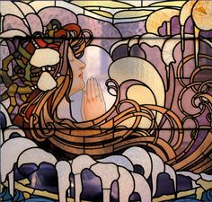 Detail of La Vague (The Wave) stained glass window design by Henri Privat-Livemont, Located at the Hotel Saintenoy, Brussels, Belgium. Image from VisitBrussels. Stained Glass Art, Stained Glass Windows, Mosaic Glass, Art Nouveau, L'art Du Vitrail, Glass Art Pictures, Glass Photography, Isabelle, Expositions