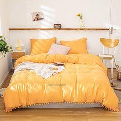 Orange Rooms, Bedroom Orange, Yellow Walls Bedroom, Mustard Bedroom, Yellow Bedrooms, Mustard Bedding, Room Ideas Bedroom, Bedroom Decor, Yellow Room Decor
