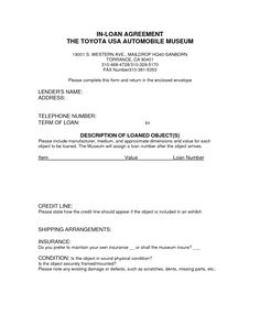corporate loan agreement form - car payment contract template