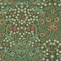 Blackthorn Wallpaper A beautiful floral wallpaper shown in greens with multicoloured flowers. Designed by J.H. Dearle in 1892 and first adapted for machine printed fabric in 1975 by Sanderson.