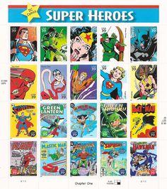 DC Comics Super Heroes USPS Postage Stamps