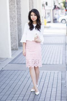 blush lace skirt, bell sleeves off the shoulder top, spring fashion, petite fashion blog