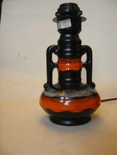 West German Pottery Lamp Light Fat Lava Retro Vtg Orange Black 1960s Space Age | eBay