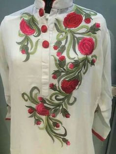 Aaaa Hand Embroidery Dress, Embroidery Suits Design, Embroidered Clothes, Embroidery Fashion, Machine Embroidery Designs, Embroidery Patterns, Kurti Embroidery, Kurta Designs, Blouse Designs