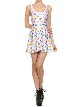Candy Heart Skater Dress - White
