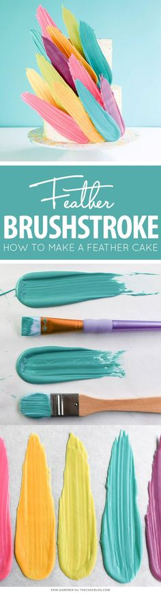Cake Cake Cake Cake: Brushstroke Cake - how to make a Kalabasa inspired feather cake using candy melts and everyday tools. Cakes To Make, Fancy Cakes, Cute Cakes, How To Make Cake, Cake Decorating Techniques, Cake Decorating Tutorials, Cookie Decorating, Decorating Ideas, Decorating Cakes