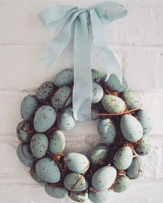 Ravishing Easter Wreath Of Nest With Green Eggs And Bow