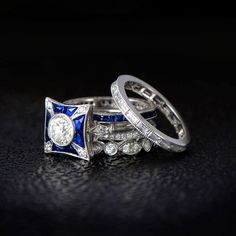 What do you think of this picture from our latest photoshoot?  #vintagejewelry #photoshoot #rings #sapphire #diamonds #proposal #ringblings #engagementrings #weddingbands #bands #wedding