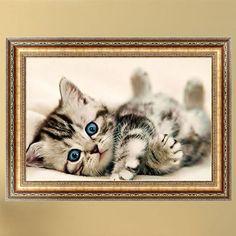 1PC Cute Animal DIY 5D Diamond Painting Pretty Cat Cross Stitch Decor Diamond Embroidery Broderie Diamant Painting Rhinestones