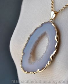 Geode Necklace, White Agate Geode Pink Amethyst Druzy Necklace, Geode Jewelry. $32.99, via Etsy.