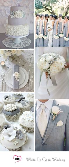 silver wedding decorations, Grey and White wedding idea. Check out our Grey Satin Kimono Bridesmaids Robe for bridesmaids and bridal robe. It would be great subsidiary for your wedding plans. Grey Wedding Theme, Wedding Color Schemes, Wedding Themes, Our Wedding, Wedding Cakes, Dream Wedding, Wedding Decorations, Wedding Dresses, Wedding Flowers