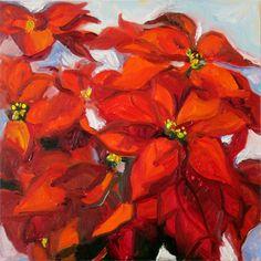 "Poinsettia One by Carol Steinberg | $250 | 16""w x 16""h | Original Art | http://www.vangoart.co/buy/art/poinsettia-one @VangoArt"