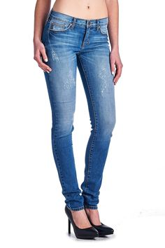 Angry Rabbit Womens Premium Deisgners Destressed w Tacking Wash Skinny Jeans  #AngryRabbit #Skinnyjeans #distressed