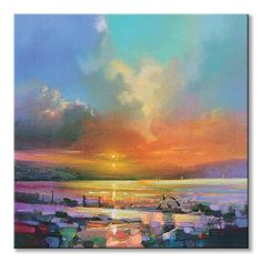 Seagulls by Scott Naismith - x Gallery Wrapped Giclee Canvas Print - Ready to Hang Scott Naismith, Pond Painting, Sunrise Painting, Abstract Canvas, Canvas Art Prints, Painting Prints, Framed Art, Wall Art, Watercolor On Wood