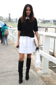 """File this easy outfit under """"looks to re-create"""" — a chunky knit, white shirtdress, and knee-high boots. Sydney Fashion Week #StreetStyle"""