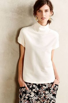 Ribbed Funnelneck Tee