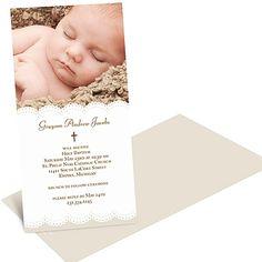 SCALLOPED PHOTO -- BABY BAPTISM INVITATIONS