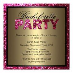 Hot Pink Glitter Bachelorette Party Invitation at http://www.zazzle.com/hot_pink_glitter_bachelorette_party_invitation-161991075045722095?rf=238505586582342524