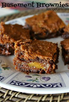 Easy Caramel Fudgy Brownies #recipe with a fun story behind the name:  Basement Brownies