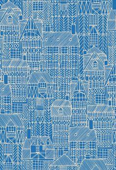 Drawn Town print by Kathryn Fowler at Seasalt Cornwall. Pattern inspired by medieval buildings in Brittany. Textiles, Textile Patterns, Textile Prints, Print Patterns, Surface Pattern Design, Pattern Art, Scandinavian Folk Art, Blue Texture, Graphic Prints