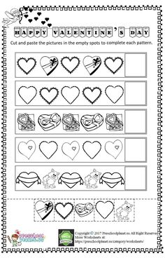 Here is Valentine's Day themed cut and paste worksheet for kindergarten and preschool. Look at the each raw and paste the correct image. Have fun! Pattern Worksheets For Kindergarten, School Worksheets, Free Printable Worksheets, Worksheets For Kids, Cut And Paste Worksheets, Math Patterns, Valentines, Spy Games, Morning Work