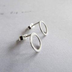 Circle Studs. Minimal earrings. Medium.  Sterling by EllenKirkAli