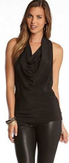 So GORGEOUS! I LOVE this Black Draped Silk Tank Top! Sophisticated draping in front with a Super Sexy Racer back design. Needs jeans though.
