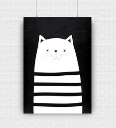 Stylish and modern cat illustration. Black and white printable art design. Decorative high quality poster for instant download.